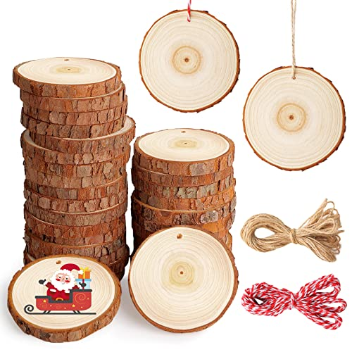 SOLEDI Tondo Legno Grezzo 30 Pezzi Diametro 7-8 cm Dischi Legno Decorativi con foro Fette di Legno Grezzo