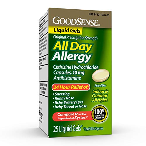 Good Sense All Day Allergy Relief, Cetirizine Hydrochloride Capsules 10 mg, Light Yellow, 25 Count