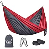 JBM Camping Hammock Single & Double Portable Lightweight Hammock Outdoor Hiking Travel Backpacking - Nylon Hammock Swing - Support 400lbs with Nylon Ropes (Gray & Red)