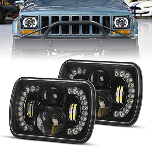 DOT Approved 2PCS 120W Cree Rectangle H6054 LED Headlights with Hi/Low Sealed Beam DRL Compatible with jeep Wrangler YJ Cherokee XJ Toyota Ford
