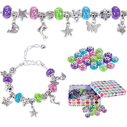 Produktbild Nabance Charm Armband Kit Silber Kette mit Handwerk Perle Armband Mädchen DIY Schmuck Armband Bastelset Mädchen Geschenke