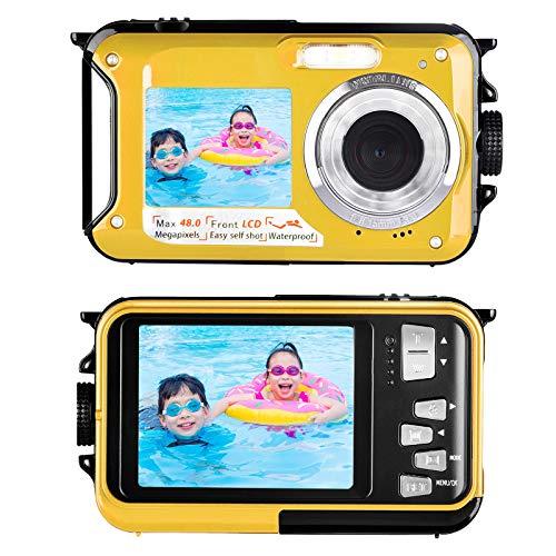 Lincom Camara Acuatica Camaras Acuaticas o Sumergibles con Pantalla Dual 2.7K 48MP Camara de Fotos Acuatica para Cámara de Snorkel Selfie