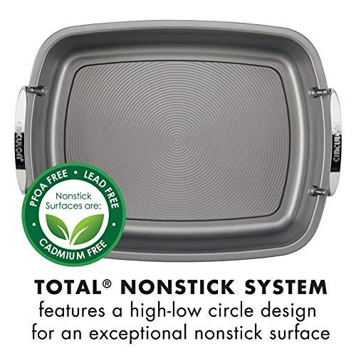 Circulon 56539 Nonstick Roasting Pan / Roaster with Rack  - 17 Inch x 13 Inch, Gray
