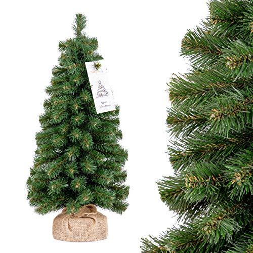 FairyTrees künstlicher Weihnachtsbaum klein, Nordmanntanne Mini Premium, Kleiner Tannenbaum für Tisch, Büro, 50cm, FT40-50