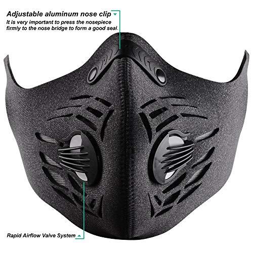 BASE CAMP Fitness Maschera antipolvere con Gancio e Loop regolabile Earloop e filtro a carboni attivi per la pulizia dell'alloggio sportivo Giardinaggio (Grigio)