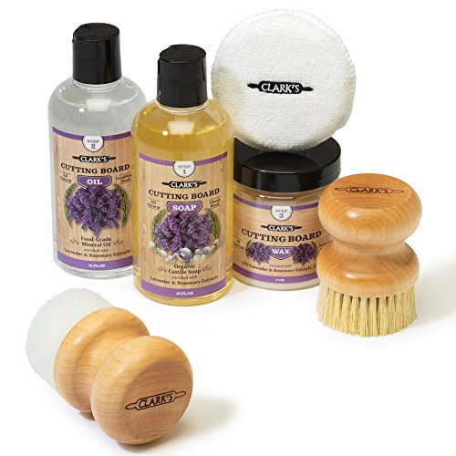 CLARK#039S Complete Cutting Board Care Kit | Cutting Board Oil 12oz  Soap 12oz  Finish Wax 6oz  Applicator  Scrub Brush  Finishing Pad | Lavender amp Rosemary
