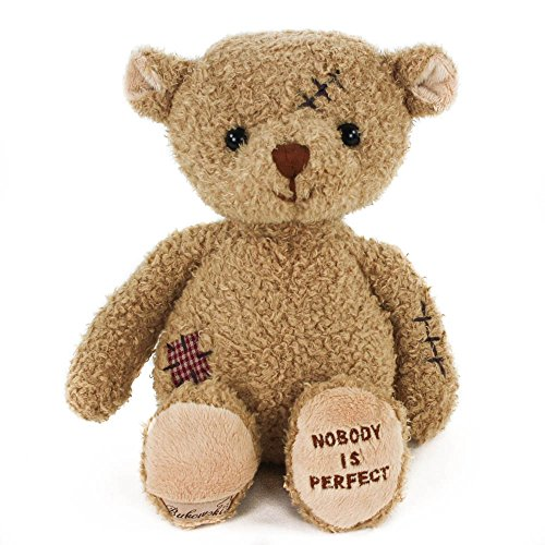 Teddys Rothenburg Kuscheltier Teddybär Nobody is Perfect 25 cm braun mit Flicken Plüschteddybär