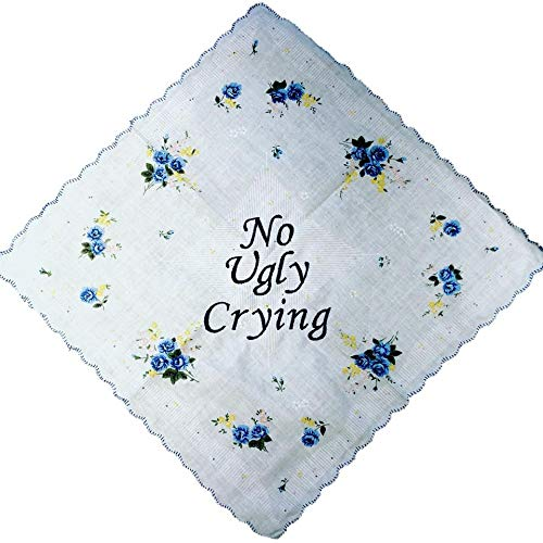 No Ugly Crying Wedding Handkerchief Floral Print By Wedding Tokens Bridesmaid Gift by Wedding Tokens Bridal Something Blue