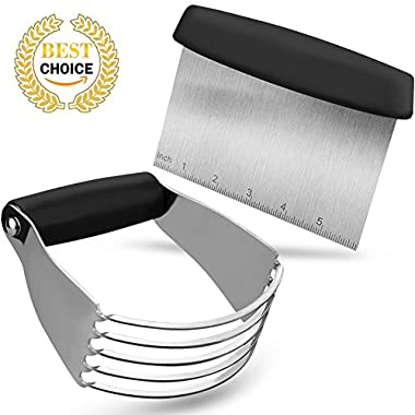 Modchan Dough Blender + Pastry Cutter, Professional Stainless Steel Bladed Pastry Blender and Dough Cutter Scraper Chopper Set For Kitchen Baking Tools (Black)