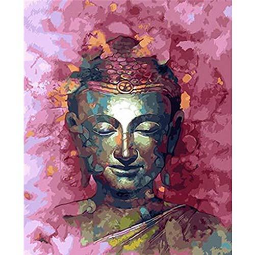crjzty DIY Malen nach Zahlen Gemälde nach Zahlen DIYgemalte Buddha-Statue Figur Leinwand Raumdekoration Kunst Bild Kindergeschenk
