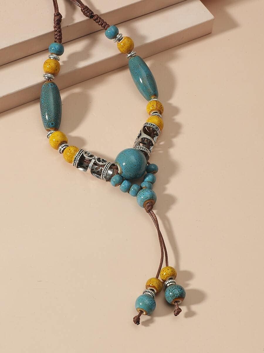 frenma Necklace Pendant Bead Decor Y Lariat Necklace (Color : Blue)
