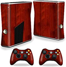 MightySkins Skin Compatible with Microsoft Xbox 360 S Slim + 2 Controller Skins wrap Sticker Skins Cherry Wood