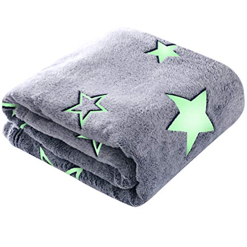 Winthome Decke mit Sternen, leuchtend, weiche Mikrofaser, aus Flanell, Fleece-Überwurf, für alle Jahreszeiten, 130 x 170 cm