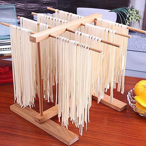 HoneybeeLY Stendipasta, stendibiancheria Pieghevole in Legno e stendino per Spaghetti, Legno di faggio Naturale