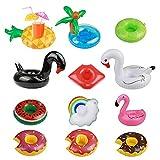 12pcs Posavasos de Flotador KAKOO de Cisne inflador Flamenco colchonetas y Juguetes hinchables de niños Adultos Fiesta Piscina