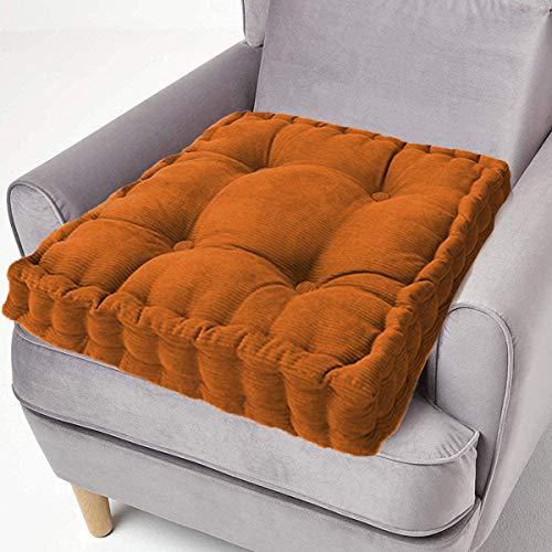 ping bu Sitzkissen aus Baumwolle, dick, quadratisch, 50 cm, für Sessel, Garten, Erwachsene, Stuhl (45 x 45 cm, hellbraun)