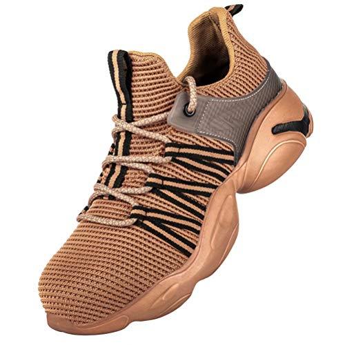 Scarpe Antinfortunistiche Uomo Donna S3 Scarpe da Lavoro Antiscivolo Punta in Acciaio Ultraleggeri Traspiranti Brown 42