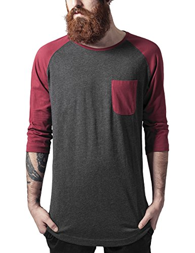 Urban Classics Herren Long Raglan 3/4 Sleeve Pocket Tee T-Shirt, Mehrfarbig (cha/burgundy 668), M