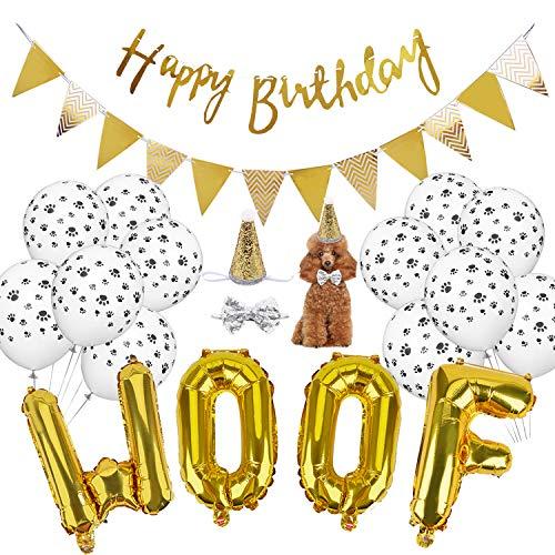 Legendog WOOF Buchstaben-Ballons, Pfotenabdruck-Ballons, Haustier-Geburtstags-Hut, Happy Birthday-Banner für Hunde-Geburtstagsparty