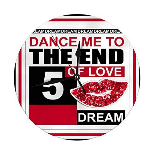 FETEAM Reloj de Pared sin tictac 9,8 Pulgadas Dance Me to The End of Love Reloj Redondo Digital