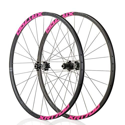 Mountain Bike 26/27,5 Pouces VTT Roues, Classique VTT, Route Racing Jantes en Alliage, NBK F2 / R4, système de 6Pawls, Convient for Les vélos de Route, Course VTT (Noir/Rose) (Size : 27.5\