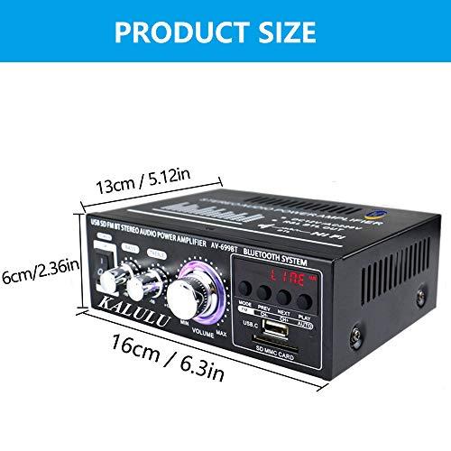 Mini Amplificateur de Son, Bluetooth 5.0 Stéréo Audio Récepteur Ampli Bluetooth HiFi à 2.0 Channel 400W avec Entrée Carte SD/USB / Bluetooth, Ampli HiFi sans Fil pour Ampli Voiture, Home Cinema