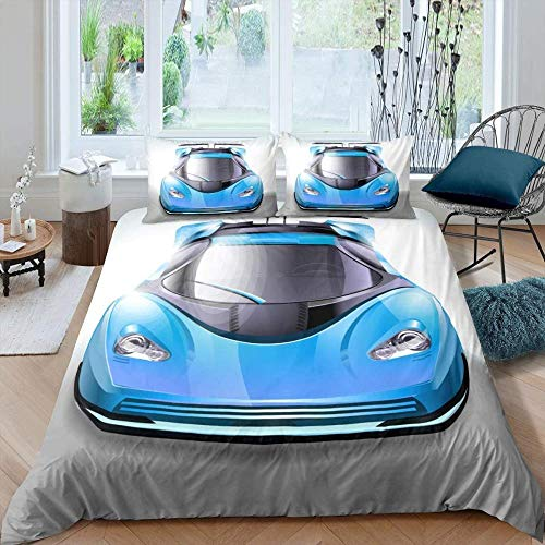 LYJJYA Juego de Ropa de Cama 105 Carro Azul Funda nórdica 180x220 cm con 2 Funda de Almohada 50x75 cm