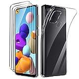Oududianzi - Hülle für Samsung Galaxy A21S+ [3X Panzerglas Bildschirmschutzfolie], Schlank Klar Handyhülle Weich TPU Silikon Gel Hülle - Transparent