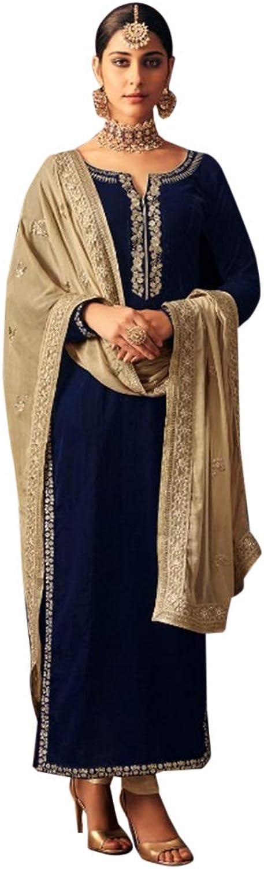 Beautiful Designer Velvet Salwar Kameez Pant style Ethnic Embroidery Wedding Ceremony Indian Muslim bluee 7255