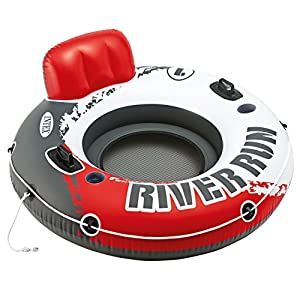 Intex Red River Run 1 Fire Edition Sport Lounge, Inflatable Water Float, 53″ Diameter
