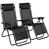 Reclining Zero Gravity Chairs Black Heavy Duty Folding Portable Design Relaxing Chair Sun Lounger Garden Furniture Outdoor Beach Pool Camping Set Of 2 Chairs