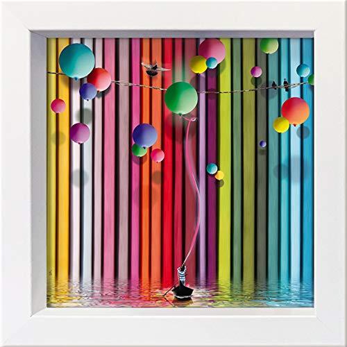 International Graphics ingelijste briefkaart - MAILO/M-L VAREILLES - ''L'alpagueur de Ballon' - 16 x 16 cm - wit frame