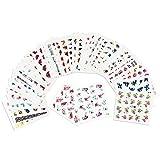 SENDILI Autocollants à Ongles - 50 Pcs Ongles Stickers Fleurs Papillon Plumes Rose Filles Femmes Ete Elégant Nail Art DIY Décoration Water Decal