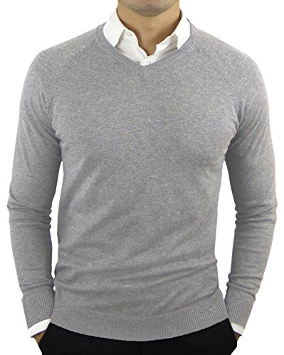 CC Perfect Slim Fit V Neck Sweaters for Men | Lightweight Breathable Mens Sweater | Soft Fitted V-Neck Pullover for Men Heather Grey