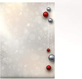 Navidad Papel de carta A4bolas de navidad plata y rojo, 100hojas