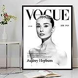 wojinbao sin Marco Cuadros Beauty Vogue Audrey Hepburn Arte de la Pared Impresiones y pósters Moda Lienzo ngs Imágenes para la decoración de la Sala de Estar para el hogar 50x70cm