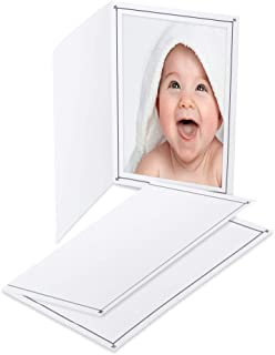 Cardboard Photo Folder 4x6 (100 Pack) - White Card Folder with Nice Silver Design- Great for Wedding Pictures, Baby, Graduation, Friends and Many More!