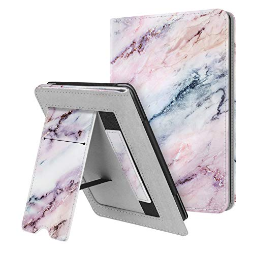 Fintie Stand Case for Kindle Paperwhite (Fits All-New 10th Generation 2018 / All Paperwhite Generations) - Premium PU Leather Protective Sleeve Cover with Card Slot and Hand Strap, Marble Pink