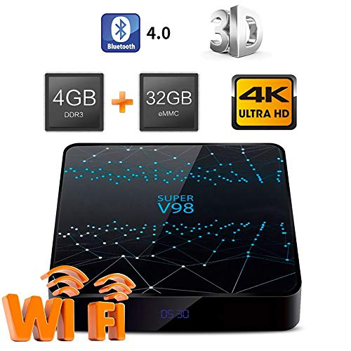 WXJHA Full HD Android 9.0 TV Box RK3318 RAM de 4 GB ROM 32GB Android 9.0 Media Player 2.4G Ayuda WiFi Bluetooth 1080P 4K Media Player Iptv Caja de TV