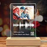 Soundwave Art Custom Gifts Night Light,Personalized Sound Wave Artwork Wedding Gifts Acrylic Photo Plaque with QR Code