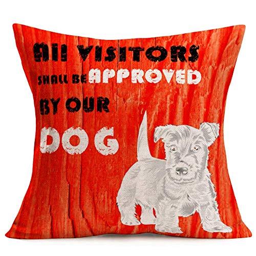 Fundas de Almohada para Perros Funda de Almohada para Perros con diseño de Animales, veta de Madera roja Vintage, cálida, Que Dice Que Todos los visitantes serán aprobados por Nuestro Perro