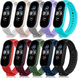 Pack 10 Bands for Xiaomi Mi Band 5 Straps/Xiaomi Mi Band 6 Straps/Amazfit Band 5 Straps, Soft Silicone Replacement Wristbands for Mi Band 5 & Mi Band 6 & Amazfit Band 5 Fitness Tracker (Pack 10)