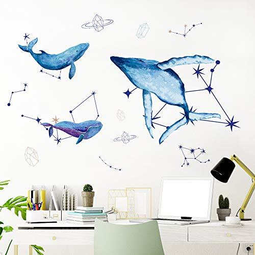 Giant Blue Whale Ocean Wall Decal Stickers, Deep Sea Beluga Peel and Stick Wallpaper, Under The Sea Fish and Star Murals DIY Art Decoration for Decor Bedroom Living Room Home Nursery (49x29.5in)
