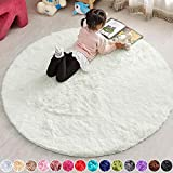 PAGISOFE Cream White Round Rug Circle Rugs 5x5 Feet Small Fluffy Shaggy Carpets and Rugs for Girls Boys Baby Kids Bedroom Furry Comfy Teepee Mats Circular Rugs for Reading Area Nursery Room