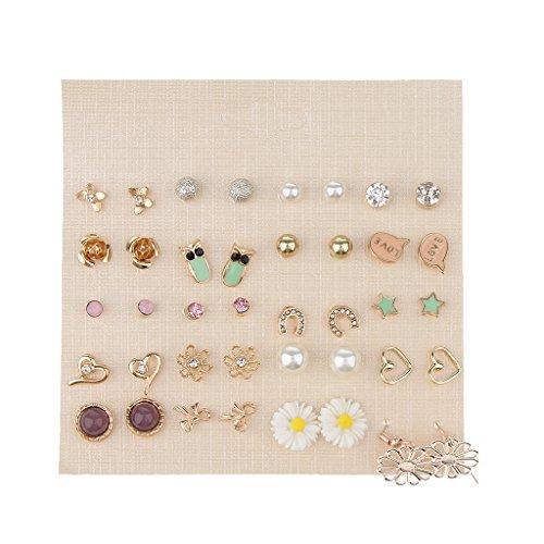 D DOLITY Juego de 20 pares de pendientes de perlas multicolor con forma de bola, pendientes elegantes para la oreja.