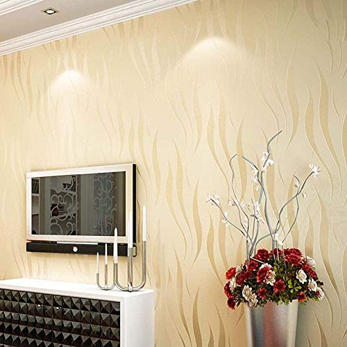 Modern Minimalist Non-Woven Wallpaper 3D Flocking Embossed Wallpaper Roll...