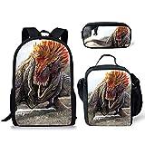 POLERO Mochila unisex para adolescentes de escuela secundaria y universidad, bolsas + bolsa de almuerzo + estuche para lápices, 3 bolsas en 1 (3 en 1 conjuntos de mochila Dilophosaurus Painting)