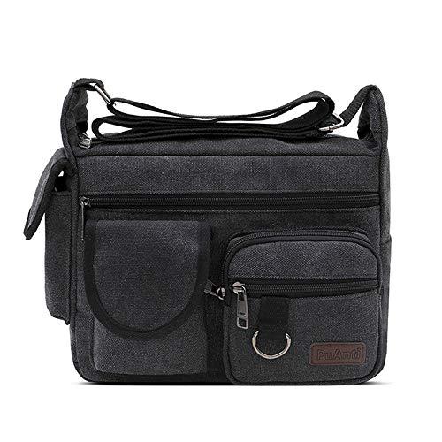 Bolsa de hombro de lona para hombre de gran capacidad, multicapa, bolsa de mensajero para estudiantes de viaje de hombro mochila de ocio, color Negro, talla Large