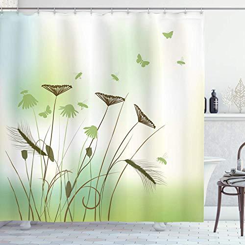 CAIQ 48 x 72 inch vlinder douchegordijn silhouet van de libellen bijen vlinders vliegen over bloemen voorjaar thema stof badkamer decoratie set met haken