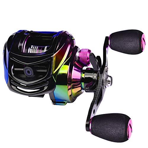 SENDEREAL Baitcasting Reel, Light and Colorful Baitcaster Fishing Reel 22 LB Drag, 9 + 1 Shielded Ball Bearings 10 Gears Magnetic Brake System,7.2:1 Gear Ratios,Left Handed…
